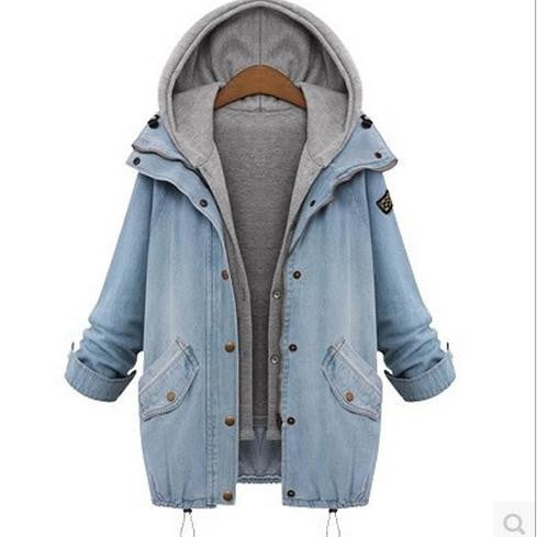 Blue Hooded Drawstring Denim Two Pieces Coat - Meet Yours Fashion - 2