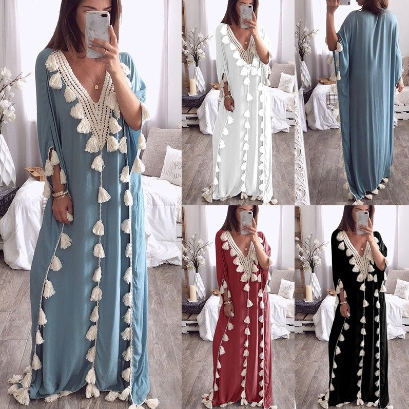 V-neck Lace Patchwork Tassels Women Loose Beach Long Dress