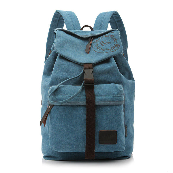 Folder Cover Solid Color Canvas Backpack Leisure Bag - Meet Yours Fashion - 2