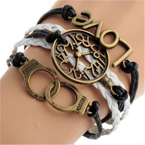 Fashion Clock LOVE Handcuffs Multielement Bracelet