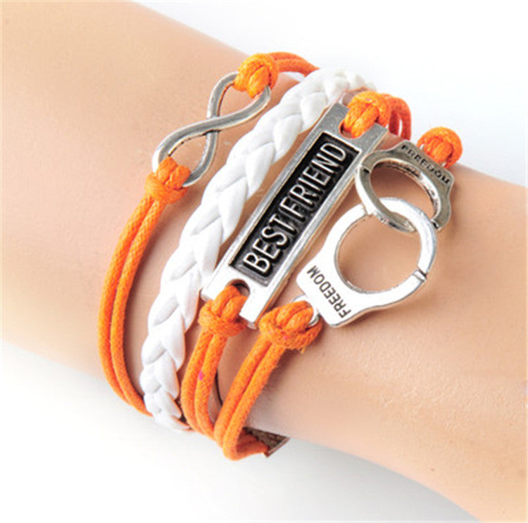 Fashion BESTFRIEND Handcuffs Leather Cord Bracelet