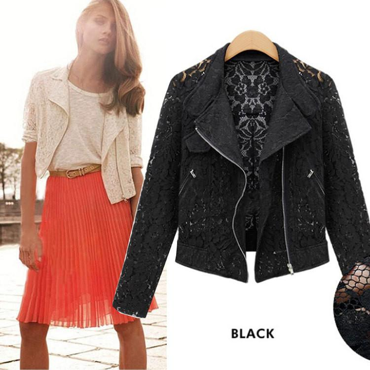 Hollow Lapel Double Zippers Lace Long Sleeves Short Coat - Meet Yours Fashion - 4