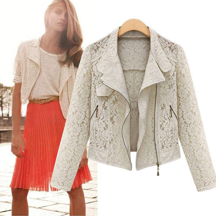 Hollow Lapel Double Zippers Lace Long Sleeves Short Coat - Meet Yours Fashion - 2