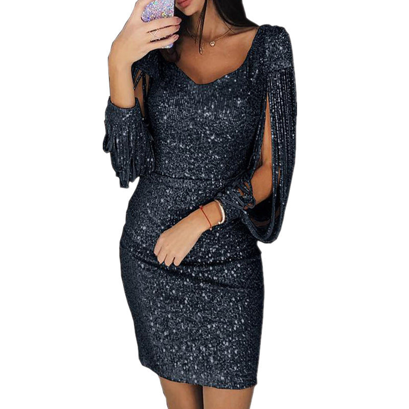 Shinning Sequins Long Hollow Out Sleeves Women Short Dress