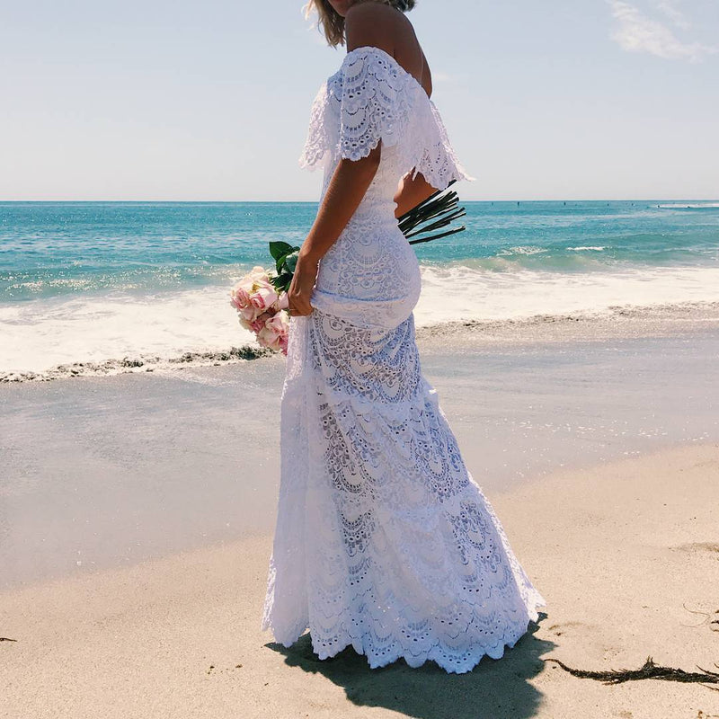 Off Shoulder Lace Mermaid Long Beach Dress