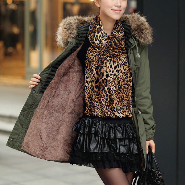 Faux Fur Collar Long Winter Hooded Hat Coat - Meet Yours Fashion - 6
