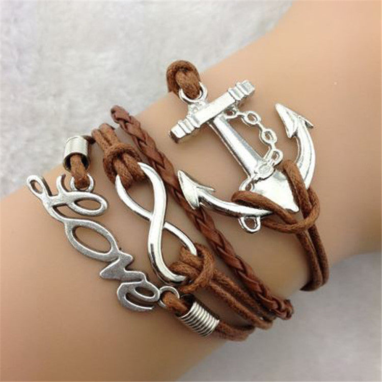 LOVE Anchor Multilayer Woven Bracelet