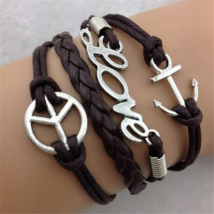 Direction Of Love Anchor Fashion Leather Cord Bracelet