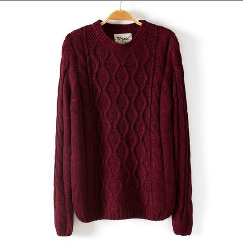 Solid Color Pullover Diamond Scoop Knit Sweater