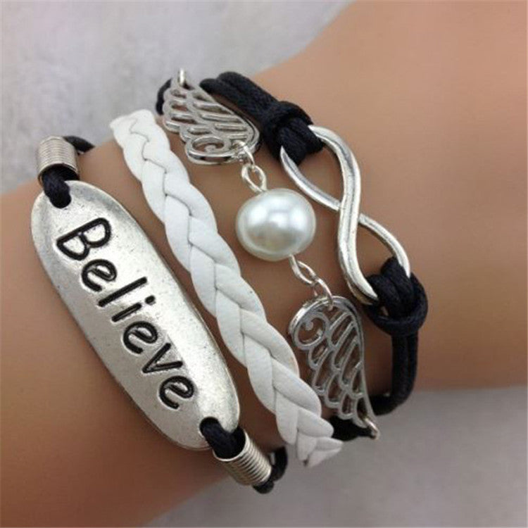 Believe Angel's Wings Multilayer Woven Bracelet