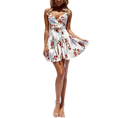 Loose Deep V-neck Spaghetti Strap High Waist Flower Print Short Dress