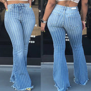 Flare High Waist Stretch Stripes Bodycon Denim Pants