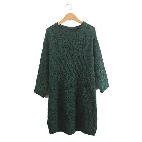 Diamond Cable Retro Knit Long Pullover Sweater - Meet Yours Fashion - 5