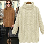 Pullover High Neck Knit Twist Long Sleeve Side Slit Sweater