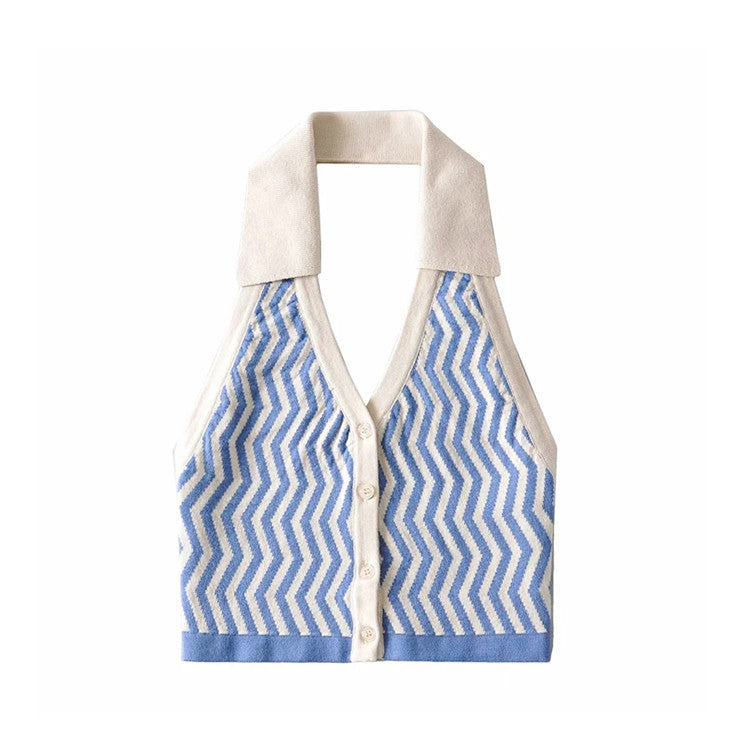 Wavy Halterneck Lapel Single-breasted Cropped Vest