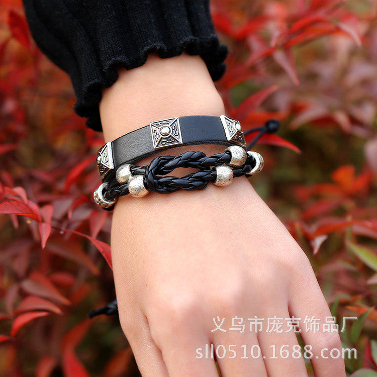 European Popular Leather Personality Bracelet