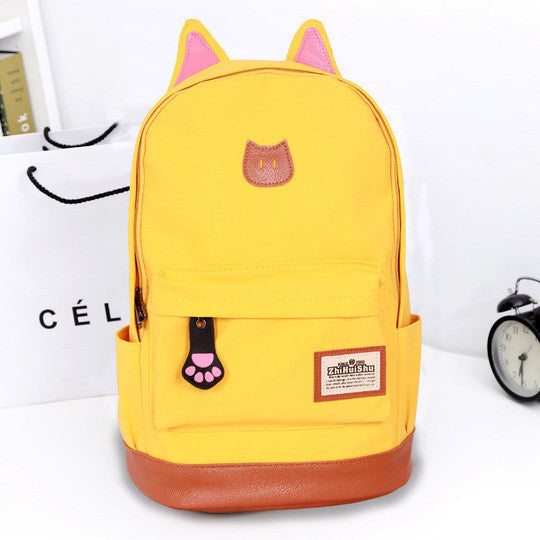 Cute Cat Ears Solid Color School Backpack Canvas Bag - Meet Yours Fashion - 1