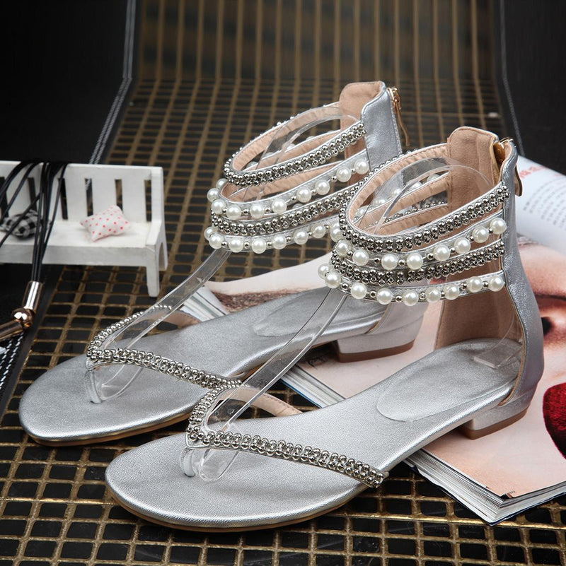 Beading Rhinestone Thong Women's Flat Flops Sandals - MeetYoursFashion - 6