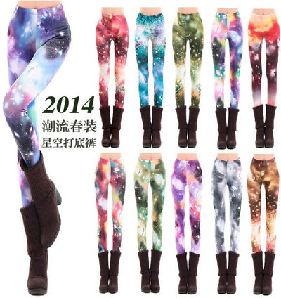 Bodycon Skinny Flower Print Sky Slim Flower Print Sport Leggings