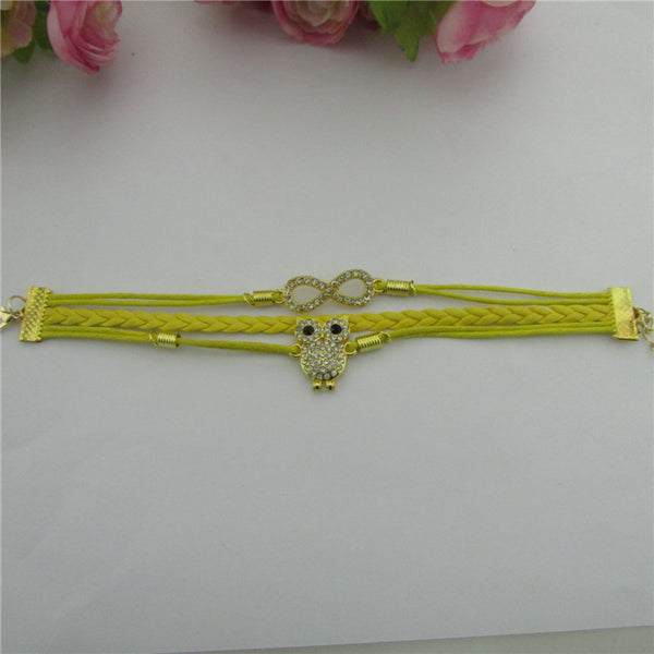 Luxury Crystal Owl 8 Fashion Leather Bracelet
