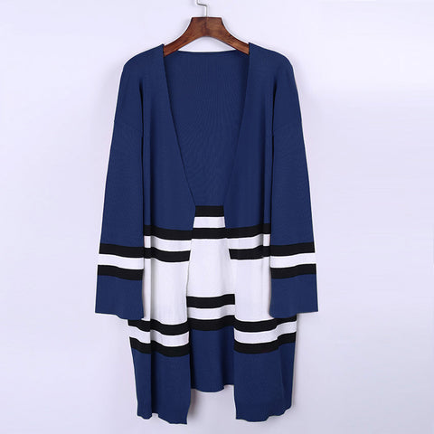 Stripes Patchwork Color Block Loose Cardigan