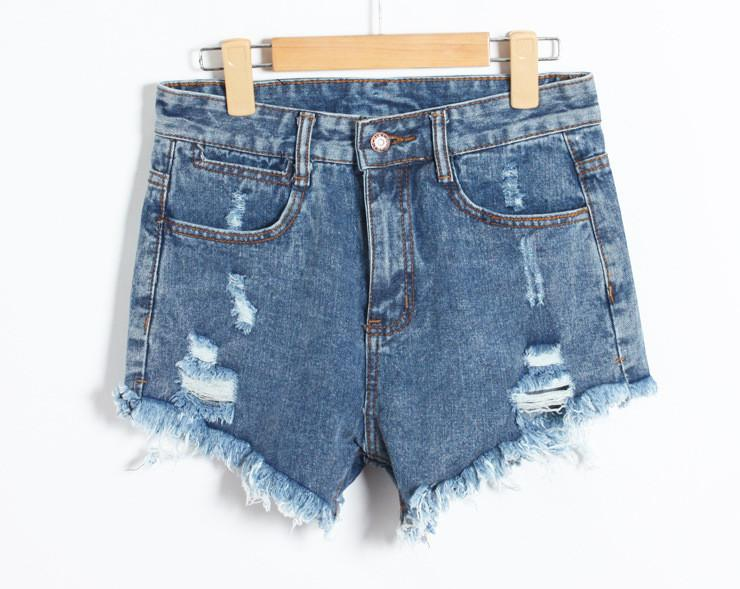 Holes Ripped High Waist Tassel Hot Shorts - Meet Yours Fashion - 5