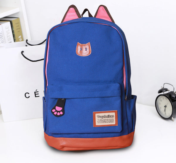 Cute Cat Ears Solid Color School Backpack Canvas Bag - Meet Yours Fashion - 5