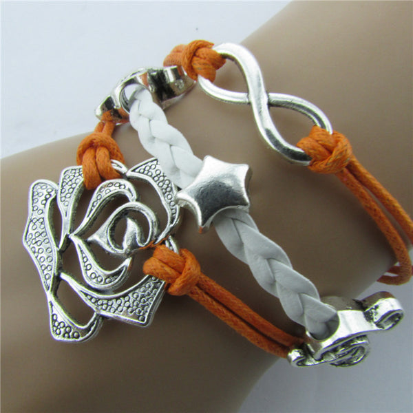 Roses Music Note Retro Leather Cord Bracelet