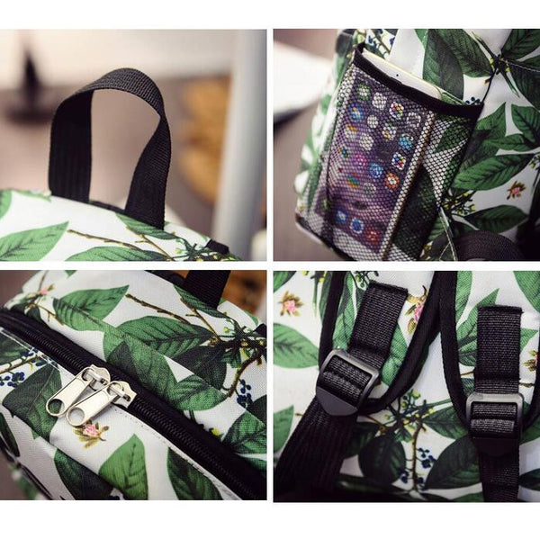 Green Leaves Print Fashion School Backpack - Meet Yours Fashion - 4