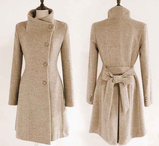 Free Shipping Slim Bowknot Sash Worsted Trench Coat