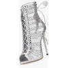 Crystal Lace Up Peep Toe Ankle Boot Stiletto High Heel Sandals