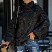 Turtleneck Balloon Sleeve Cable Knitted Sweater