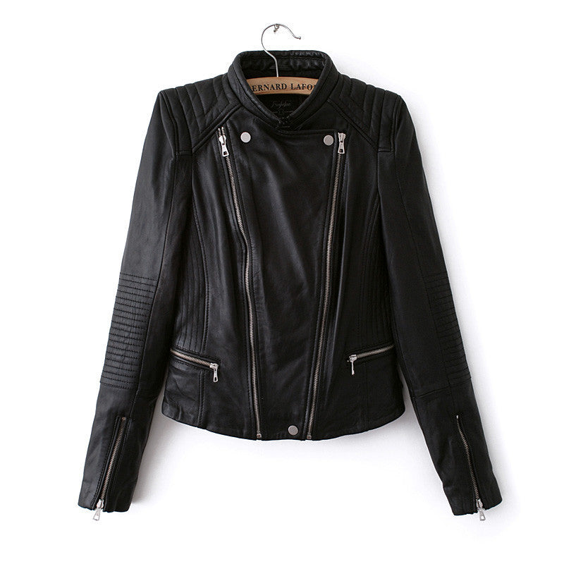 Double Zipper Stand Collar PU Crop Slim Jacket - Meet Yours Fashion - 1