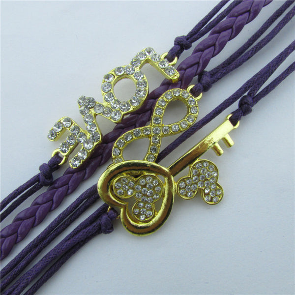 Crystal Mickey Key LOVE Multilayer Bracelet