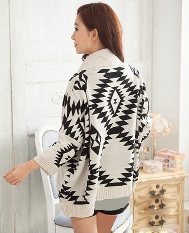 Geometric Pattern Open Loose Cape Cardigan - MeetYoursFashion - 4