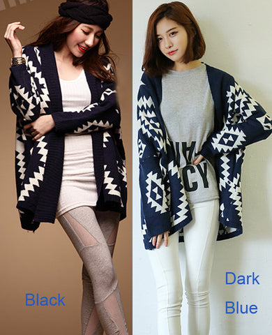 Geometric Pattern Open Loose Cape Cardigan - MeetYoursFashion - 3