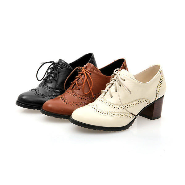 British Style Carved Classy Lace up Oxford Shoes - MeetYoursFashion - 7