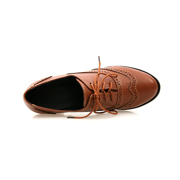British Style Carved Classy Lace up Oxford Shoes - MeetYoursFashion - 9