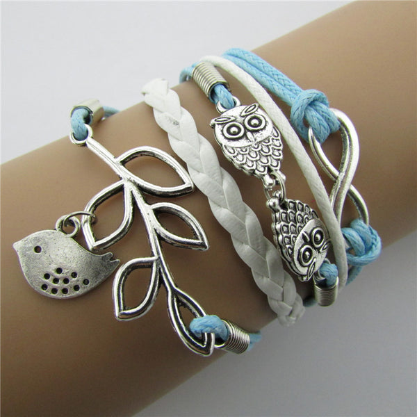 Fashion Owl Leaves Bright Hand-made Leather Bracelet
