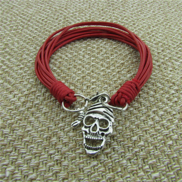 Skull Decorate Multilayer Hand Woven Bracelet