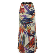 Print High Waist Bodycon Long Skirt