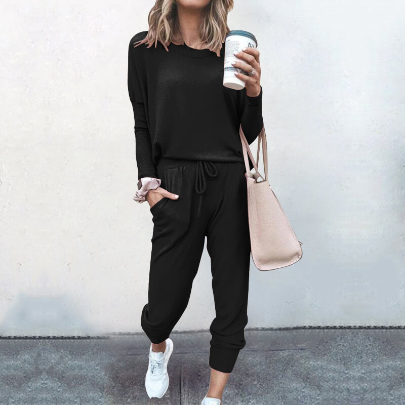 Long Sleeves Blouse Long Loose Pants Set