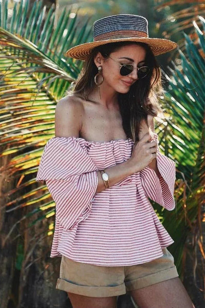 3/4 Sleeves Off Shoulder Striped Blouse