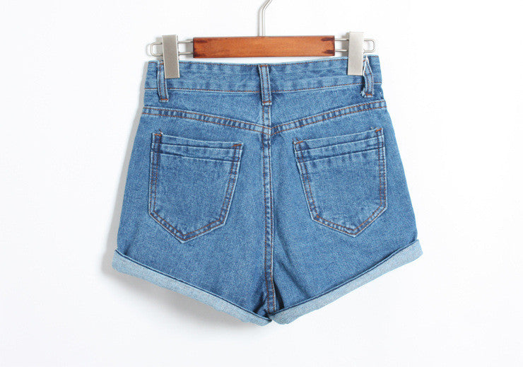 Button High Waist Rolled Hem Casual Denim Shorts