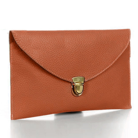 New Fashion Women's Golden Chain Envelope Purse Clutch Synthetic Leather Handbag Shoulder Bag Dinner Party