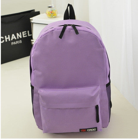 Pure Color Korean Style Casual Backpack School Travel Bag - Meet Yours Fashion - 5