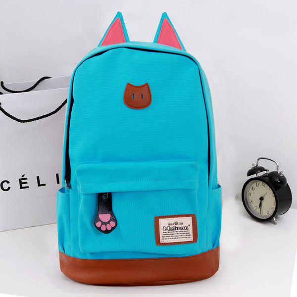 Cute Cat Ears Solid Color School Backpack Canvas Bag - Meet Yours Fashion - 6