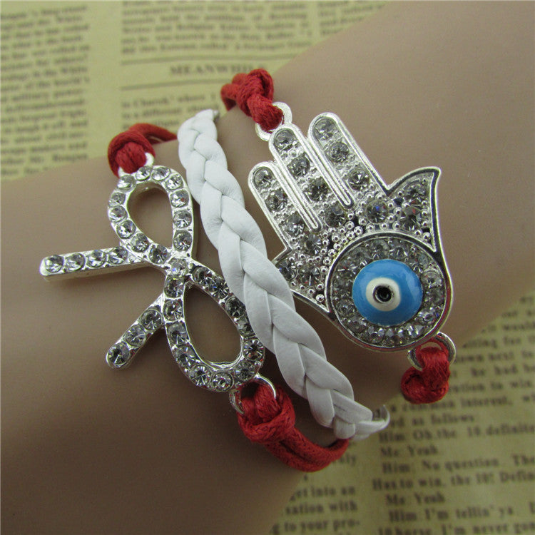 Crystal Bowknot Hand Eyes Leather Cord Bracelet