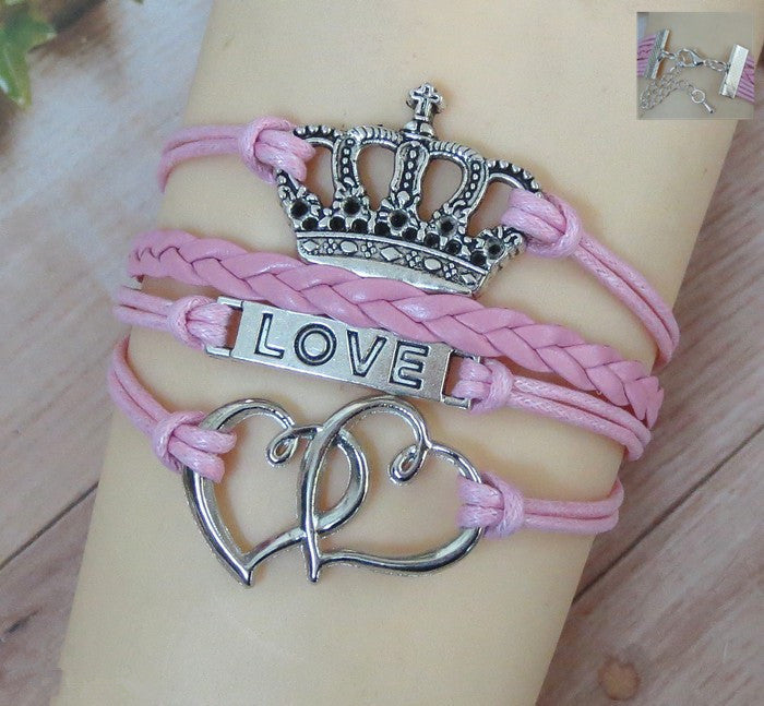 Beautiful Crown Pattern Love Bracelet