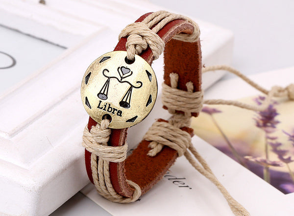 12 Constellation Woven Brown Leather Bracelet
